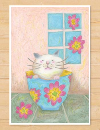 画像1: MARU イラスト 「猫と器」