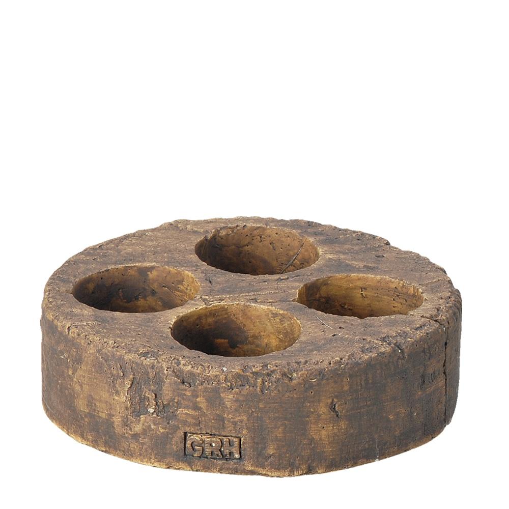 画像1: 切り株風陶製ミニポット 円形4穴