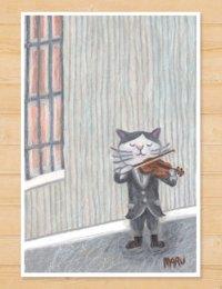 MARU イラスト ポストカード 「バイオリン」