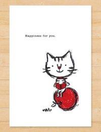 MARU イラスト ポストカード 「りんご猫」