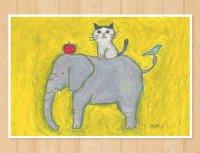 MARU イラスト ポストカード 「とりとねことぞうとりんご」