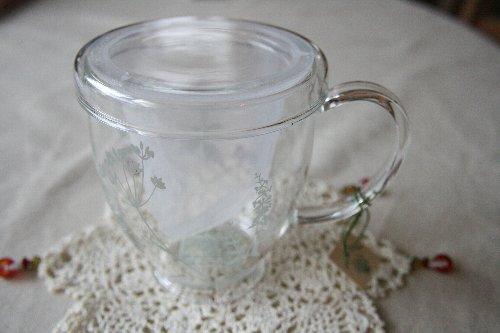 画像1: ハーブティマグカップ(ハーブ柄グレー)