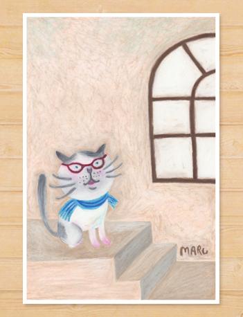 画像1: MARU イラスト 「猫と眼鏡」