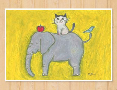 画像1: MARU イラスト ポストカード 「とりとねことぞうとりんご」