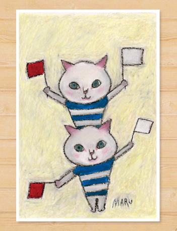 画像1: MARU イラスト ポストカード 「手旗信号」