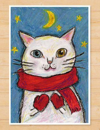 画像1: MARU イラスト ポストカード 「月夜」
