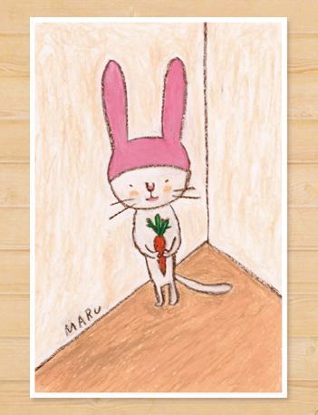 画像1: MARU イラスト ポストカード 「うさぎ」