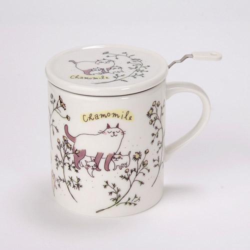 画像1: ハーブマグカップ 猫とカモミール